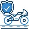 Motorcycle and shield icon