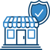 Shop front and shield icon